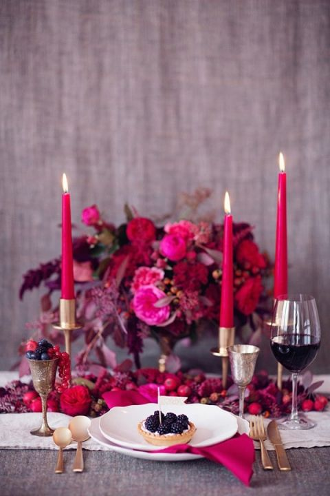 Candlelight and a Bold Berry Palette | Peaches and Mint | Still Life Inspired Autumn Wedding