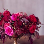 Gold, Berry, and Fuchsia Compote Centerpiece | Peaches and Mint | Still Life Inspired Autumn Wedding