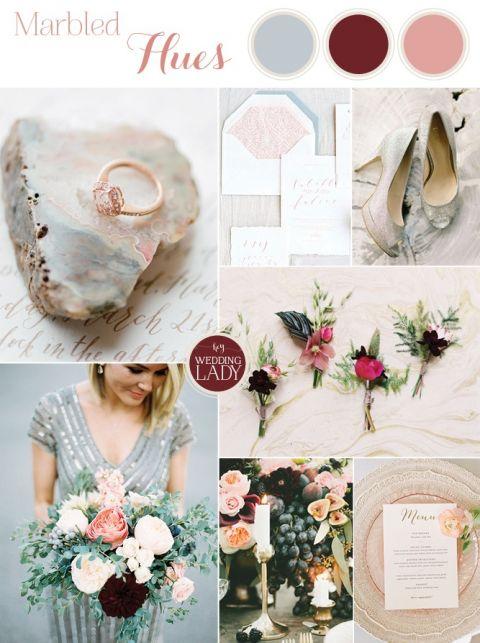 Modern Marbled Wedding in Silver, Burgundy, and Blush