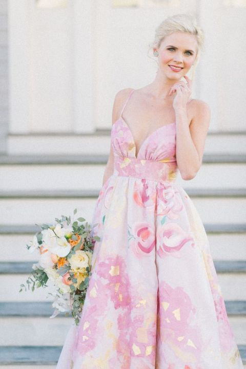 The Perfect Beach Wedding Dress 53 Trend Watercolor Floral Kate MacDonald