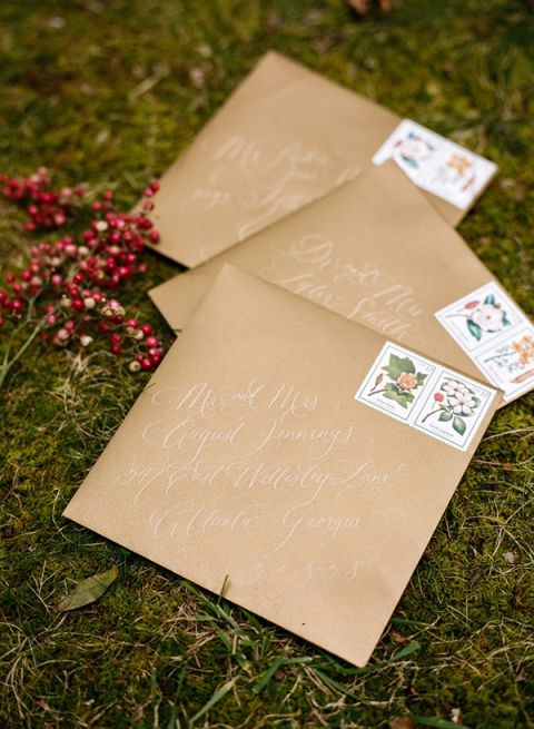Kraft Paper and Calligraphy Invitations