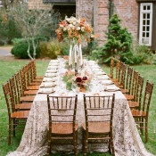 Brick and Wood Reception with a Natural Lace Tablecloth | Archetype Studio | Autumn Woodland Wedding at a Country Manor