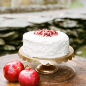 Simple Wedding Cake Topped with Pomegranate Seeds | Archetype Studio | Autumn Woodland Wedding at a Country Manor