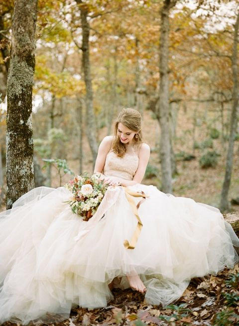 Barefoot Forest Bride In A Gold Wedding Dress