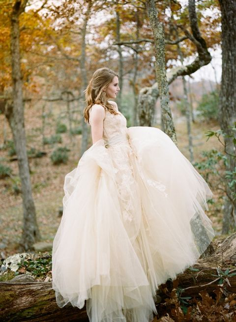 Champagne Lace Wedding Dress for an Fall Bride
