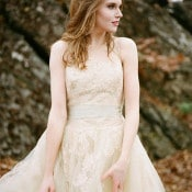 Champagne Lace Wedding Dress | Archetype Studio | Autumn Woodland Wedding at a Country Manor