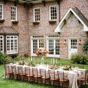 Elegant Reception at a Brick Farmhouse | Archetype Studio | Autumn Woodland Wedding at a Country Manor