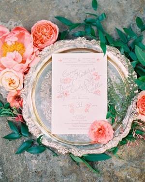 Peony Invitation | Rylee Hitchner Photography | Coral Summer Wedding