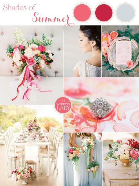 Vibrant Coral Summer Wedding with Floral Print
