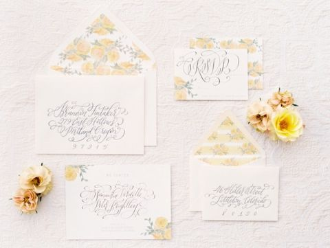 Floral Print Invitations in Sunny Yellow