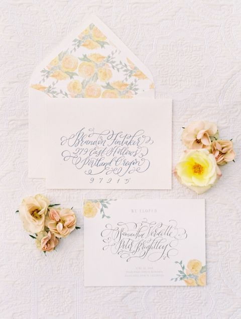 Elegant Calligraphy Invitations with Yellow Floral Print