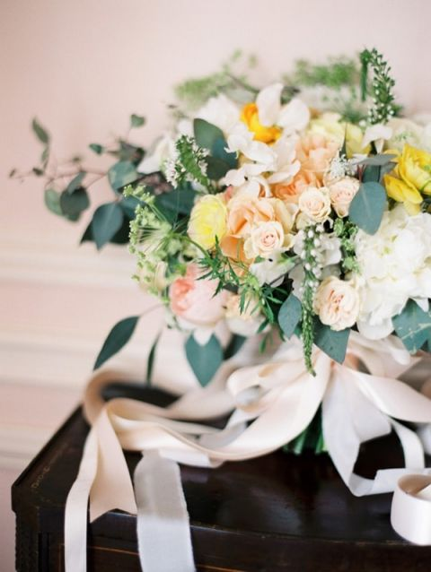 Peach and Yellow Spring Garden Bouquet