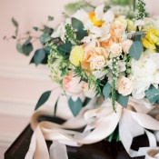 Peach and Yellow Bouquet | Sara Hasstedt Photography | Floral Romance Wedding in Pastel Shades
