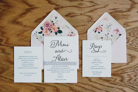 Floral Print Wedding Invitation | Leo Evidente | Chic Parisian Wedding in a Rustic Barn
