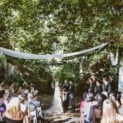 Simple and Natural Outdoor Ceremony | Leo Evidente | Chic Parisian Wedding in a Rustic Barn