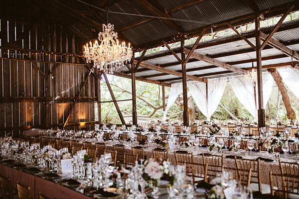 chic parisian wedding in a rustic barn