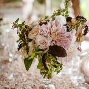 Dahlia and Rose Centerpiece | Leo Evidente | Chic Parisian Wedding in a Rustic Barn