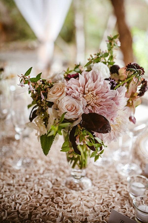 dahlia and rose centerpiece leo evidente chic parisian