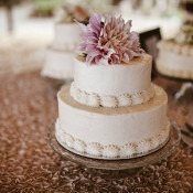 Buttercream Wedding Cake with a Dahlia Topper | Leo Evidente | Chic Parisian Wedding in a Rustic Barn