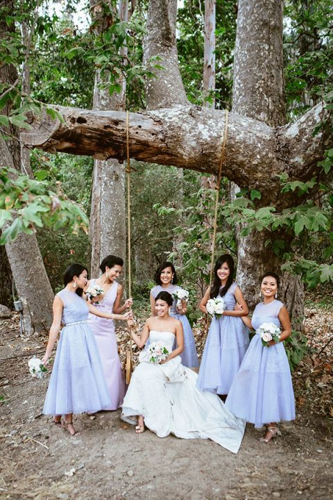 Chic Purple Bridesmaids Dresses | Leo Evidente | Chic Parisian Wedding in a Rustic Barn