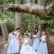Chic Purple Bridesmaids Dresses | Leo Evidente | Chic Parisian Wedding in a Rustic Barn