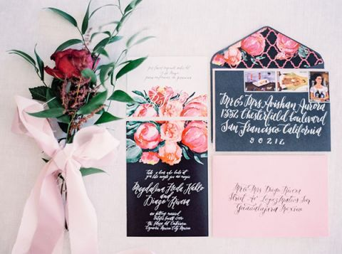 Floral Print Invitations Inspired by Frida Kahlo | Milton Photography | Vibrant Florals and Preppy Patterns for a Fall Wedding