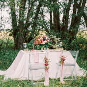 Elegant Woodland Sweetheart Table | Milton Photography | Vibrant Florals and Preppy Patterns for a Fall Wedding