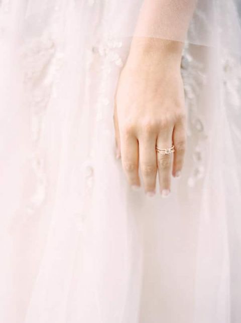 Delicate Gold Engagement Ring | Milton Photography | Vibrant Florals and Preppy Patterns for a Fall Wedding