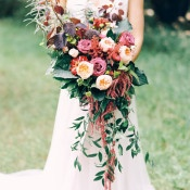 Jewel Tone Cascade Bouquet | Milton Photography | Vibrant Florals and Preppy Patterns for a Fall Wedding