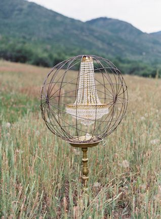 Rustic Crystal Chandelier | Bryce Covey Photography | Natural Gold - An End of Summer Wedding