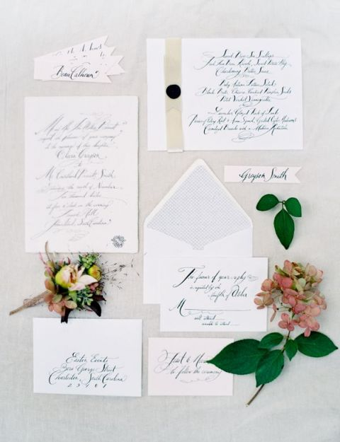 Delicate Calligraphy Wedding Stationery | Jose Villa Photography | Natural Gold - An End of Summer Wedding