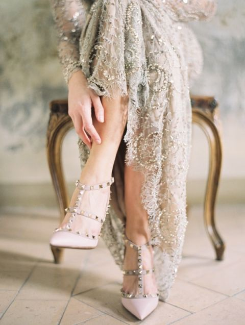 Sparkling Neutral Wedding Dress | Erich McVey Photography | Fall 2015 Wedding Colors in Taupe, Mauve, and Dusty Rose