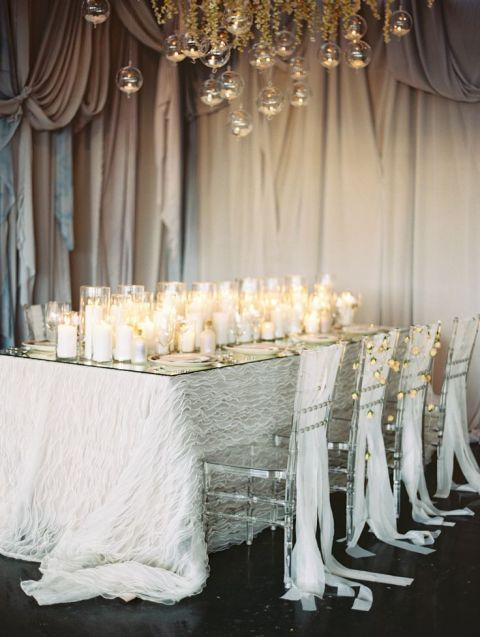 Elegant Neutral Reception by Candlelight | Megan Pomeroy Photography | Fall 2015 Wedding Colors in Taupe, Mauve, and Dusty Rose