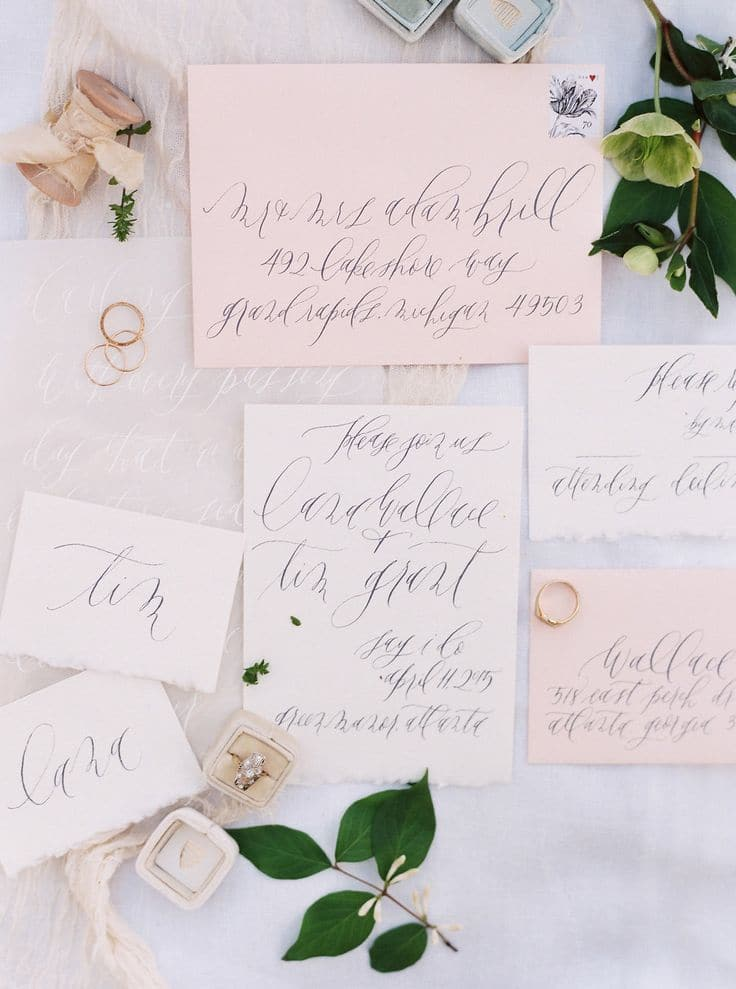 Delicate Calligraphy Invitation | Sawyer Baird Photography | Fall 2015 Wedding Colors in Taupe, Mauve, and Dusty Rose