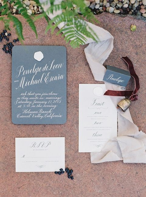Charcoal and Ivory Calligraphy Invitation | Jessica Burke Photography | Colorful California Mission Weddi