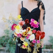 Black Sarah Seven Wedding Dress with a Colorful Bouquet | Jessica Burke Photography | Colorful California Mission Wedding Style