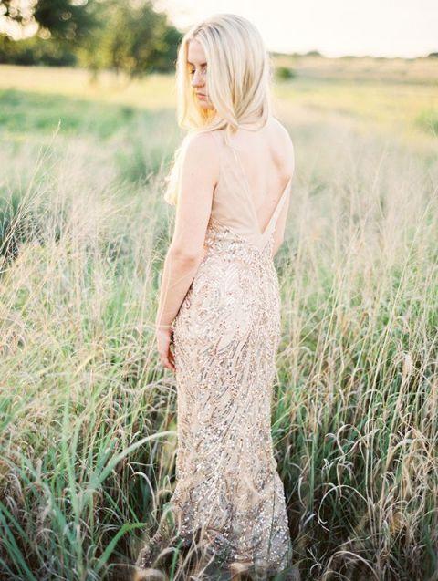 Gold Sequin Wedding Dress   Kristen Kilpatrick Photography   Mixed Metallic Wedding Ideas for Fall!