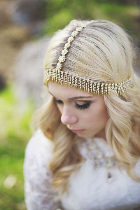 Bohemian Gold Bridal Headpiece   Cassandra Farley Photography   Mixed Metallic Wedding Ideas for Fall!