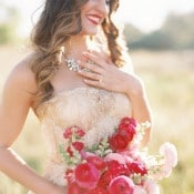 A Gold Sarah Seven Wedding Dress | Sara Hasstedt | Preppy Pink and Gold Kate Spade Bride