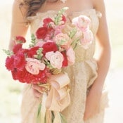 Fuchsia Ranunculus Bouquet with a Gold Wedding Dress | Sara Hasstedt | Preppy Pink and Gold Kate Spade Bride