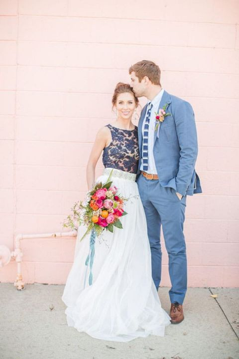 Preppy Blue Lace Wedding Dress | Aly Carroll Photography | Modern Fall Wedding Palette with Bold Blue