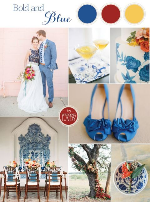 Modern Fall Wedding Palette with Bold Blue