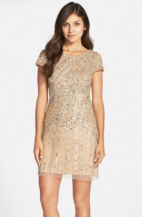 Champagne Sequin Bridesmaid Dress | HWL Picks for a Metallic Fall Wedding