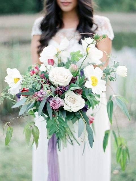 Lush Botanical Bouquet with Lilacs and Tree Peonies | Christie Graham Photography | Raw Gemstone Wedding Shoot