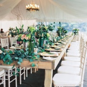 Farm Table with a Garland Runner | Emily Katharine Photography | Pastel Natural Glam Wedding
