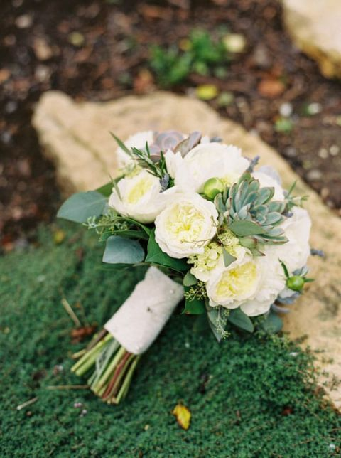 Ivory Rose and Succulent Bouquet