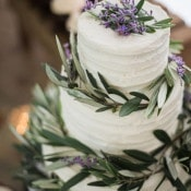 Lavender and Olive Wreath Wedding Cake | Emily Katharine Photography | Pastel Natural Glam Wedding