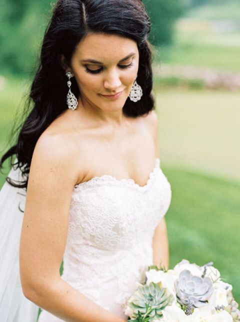 Romantic Lace Wedding Dress with Statement Earrings