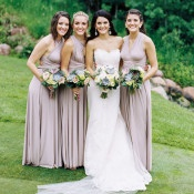 Bridesmaids in Taupe Convertible Dresses | Emily Katharine Photography | Pastel Natural Glam Wedding