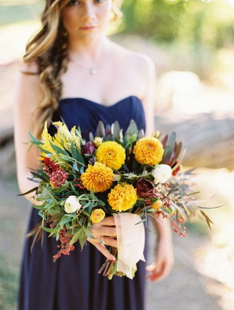 Bold Colors And A Floral Wedding Dress For Fall